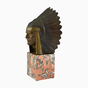 Art Deco Bronze Indian with Headdress Sculpture by Georges Garreau, 1930s