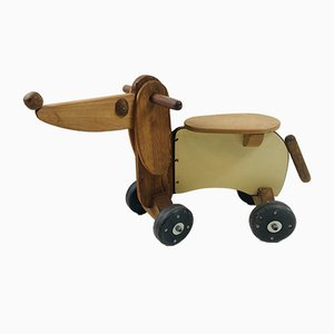 Vintage Scandinavian Wooden Bike Dog Toy, 1980s