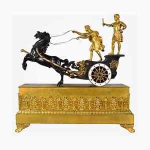 19. Jh. Vergoldeter Bronzener Streitwagen mit Telemachus Uhr
