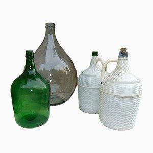Vintage Art Deco Rauchglasflaschen, 4er Set