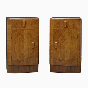 Art Deco Style Bedside Cabinets, 1950s, Set of 2