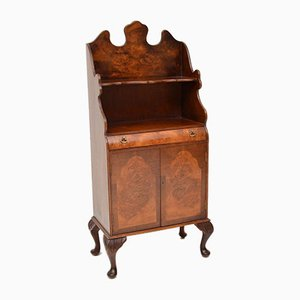 Antique Burl Walnut Open Bookcase Cabinet, 1930s