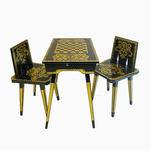 Russian Black and Gold Wooden Chess Table and Chairs Set, 1960s, Set of 3