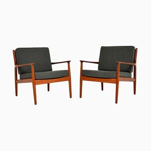 Vintage Danish Teak Armchairs by Grete Jalk for Glostrup, 1960s, Set of 2