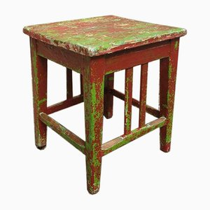Brown Red Brocante Side Table or Stool, 1940s