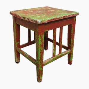 Tavolino o sgabello in broccato rosso marrone, anni '40