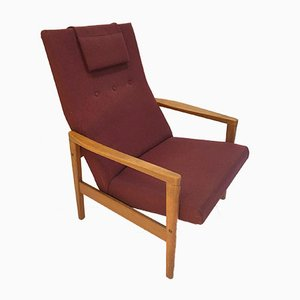 Mid-Century Bordeaux Wooden Armchair by Yngve Ekström for Swedese, 1960s