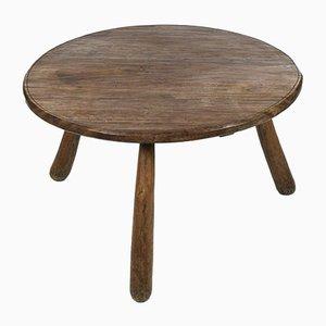 Mid-Century Brutalist Solid Wood Tripod Coffee Table