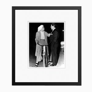 Katherine Hepburn Chatting on Her Bicycle Archival Pigment Print Framed in Black by Everett Collection