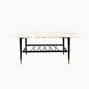 Italian Onyx and Marble Coffee Table with Magazine Rack, 1950s