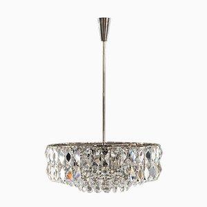 Lámpara de araña de cristal de níquel de Bakalowits & Söhne, años 50