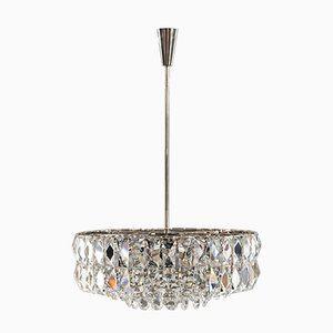 Nickel Crystal Chandelier from Bakalowits & Söhne, 1950s