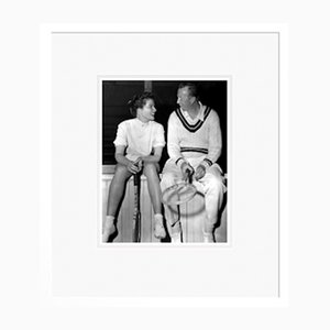 Katharine Hepburn & Don Budge in Tennis Kit Archival Pigment Print Framed in White by Everett Collection