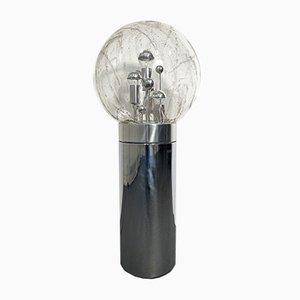 Lámpara de pie alemana Mid-Century de metal cromado y burbuja de vidrio de Doria Leuchten, años 60