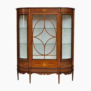 Large Antique Edwardian Mahogany and Inlaid Display Cabinet