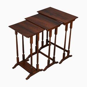 Tavolini a incastro vittoriani in palissandro antico