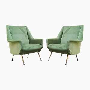 Mid-Century Italian Green Velvet and Brass Lounge Chairs, 1950s, Set of 2