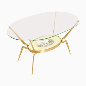 Mid-Century Gilt Brass Coffee Table by Cesare Lacca, 1950s