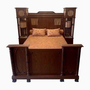 Art Deco Bett mit Nachttischen, 1920er