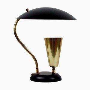 Italienische Mid-Century Messing & Metall Tischlampe mit Zwei Leuchten, 1950er