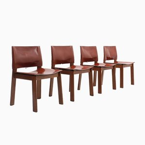 Cognac Leather Dining Chairs from Gavina, 1970s, Set of 4