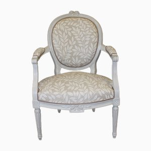 Louis XVI Lacquered Walnut Lounge Chairs, Set of 2