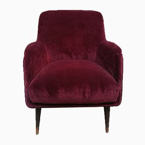 Mid-Century Italian Purple Velvet Lounge Chairs by Carlo de Carli for Cassina, 1950s, Set of 2
