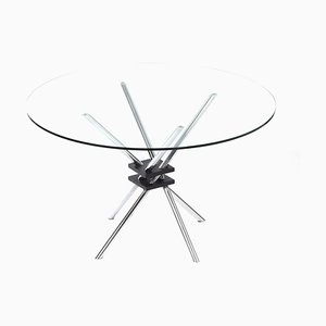 Round Glass Dining Table with Chrome Plated Frame, Italy, 1970s