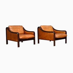 Italian Tan Leather Lounge Chairs, 1950s, Set of 2