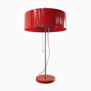 Mid-Century Red Plastic Table Lamp, Czechoslovakia, 1970s