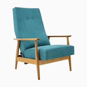 Danish Reclining Beech High Back Chair, 1960s