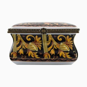 Jewelry Box in Hand-Painted Porcelain from Royal Crown Derby, England, 1920s