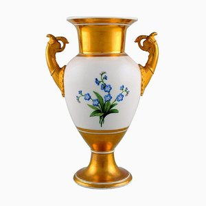 Antique Empire Vase with Flowers and Gold Decoration from KPM Berlin