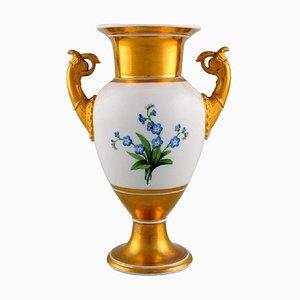 Vase Empire Antique avec Fleurs et Décoration Dorée de KPM Berlin