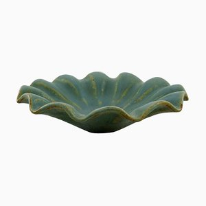 Bowl in Glazed Ceramic with Wavy Edge Model Number 130 by Arne Bang, 1940s