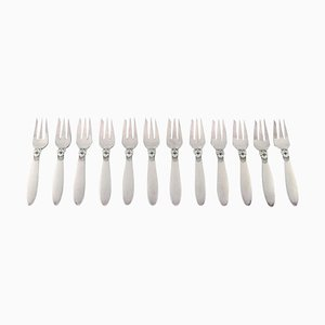 Georg Jensen Cactus Pastry Forks in Sterling Silver, 1940s, Set of 12