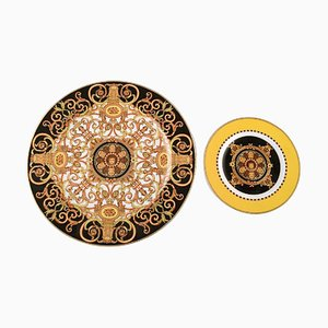 Barocco Dish and Plate in Porcelain by Gianni Versace for Rosenthal, Set of 2