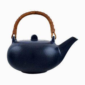 Teapot in Glazed Ceramic with Handle in Wicker by Eva Stæhr-Nielsen for Saxbo