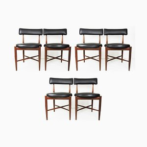 Mid-Century Teak and Vinyl Dining Chairs from G-Plan, Set of 6
