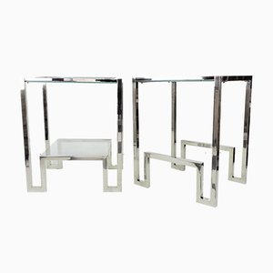 Chrome and Glass Bedside Tables, 1970s, Set of 2