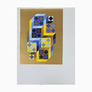 Siebdruck Serigraphie Probe (BAT) / TRITIM von Victor Vasarely, 1972