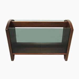 Wood and Smoked Glass Magazine Rack, 1970s