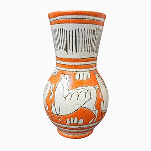Mid-Century Italian Orange Ceramic Vase by Fratelli Fanciullacci, 1960s