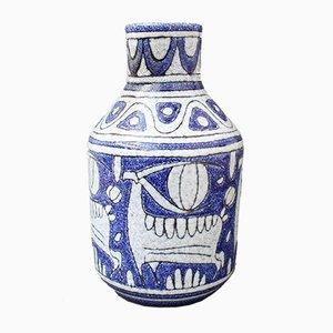 Blaue italienische Mid-Century Keramik Vase von Fratelli Fanciullacci, 1960er