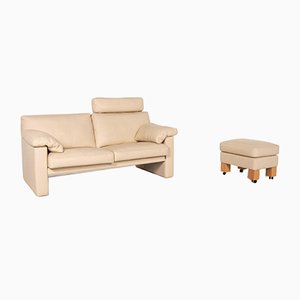 Cream Leather 2-Seat Sofa & Stool from Erpo, Set of 2