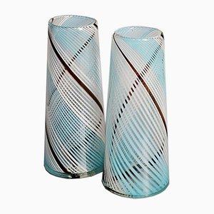 Half Watermark Glass Vases, 1950s, Set of 2