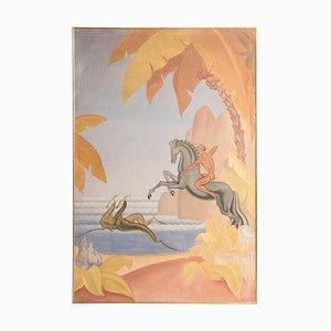 Französische Art Deco Jagdszene Öl auf Leinwand Gemälde, 1936