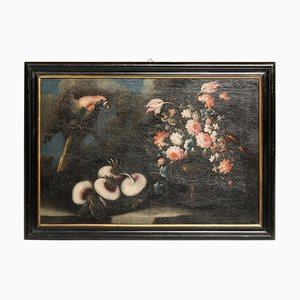 Huile Nature Morte sur Toile avec Cadre Laqué Noir, 17ème Siècle