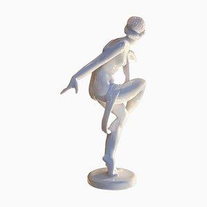 Scultura Art Deco a forma di danzatrice in porcellana, anni '40