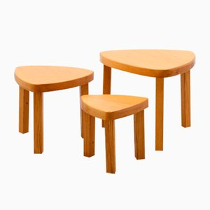 Tavolini ad incastro in quercia chiara, anni '70